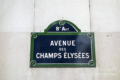 Directional Signage Photograph -  Avenue Des Champs Elysees by IB Photo