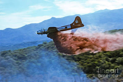 Photograph -  B-17 Air Tanker Dropping Fire Retardant by Bill Gabbert