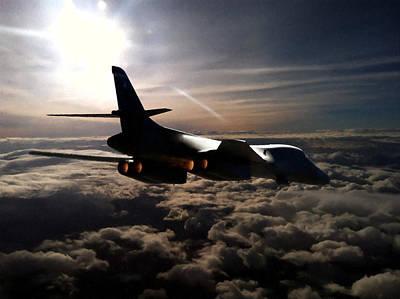B1b Photograph -  B-1b Lancer Cloud Cover 1 by Fred Kraxberger