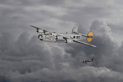 Warplane Digital Art -  B24 Liberator  446th Bomb Group by Pat Speirs
