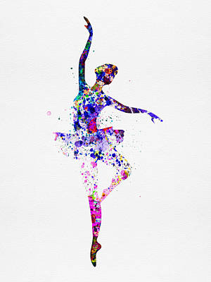 Ballerina Dancing Watercolor 2 Print by Naxart Studio