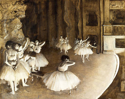 Ballet Painting -  Ballet Rehearsal On Stage by Edgar Degas