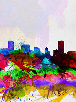 Architectural Painting -  Baltimore Watercolor Skyline by Naxart Studio