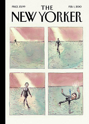 Painting - Obama Walking On Water by Barry Blitt