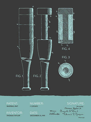 Sports Royalty-Free and Rights-Managed Images -  Baseball Bat Patent from 1919 - Gray Blue by Aged Pixel