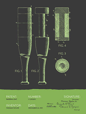 Baseball Royalty-Free and Rights-Managed Images -  Baseball Bat Patent from 1919 - Gray Green by Aged Pixel