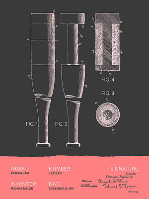 Gloves Digital Art -  Baseball Bat Patent From 1919 - Gray Salmon by Aged Pixel