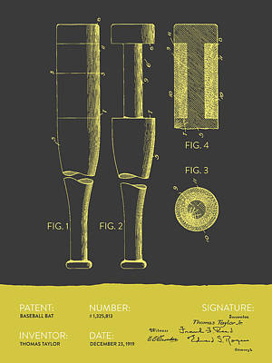 Softball Digital Art -  Baseball Bat Patent From 1919 - Gray Yellow by Aged Pixel
