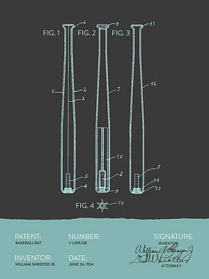 Sports Royalty-Free and Rights-Managed Images -  Baseball Bat Patent from 1924 - Gray Blue by Aged Pixel