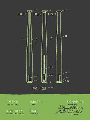 Sports Royalty-Free and Rights-Managed Images -  Baseball Bat Patent from 1924 - Gray Green by Aged Pixel