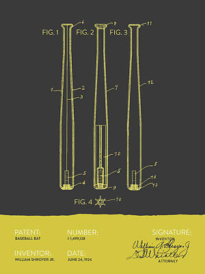 Softball Digital Art -  Baseball Bat Patent From 1924 - Gray Yellow by Aged Pixel