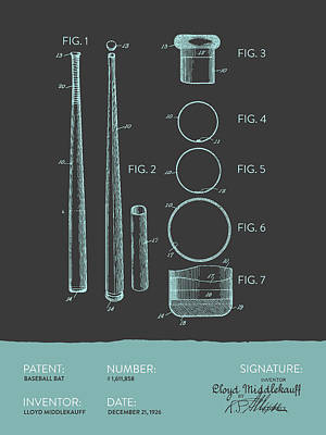Sports Royalty-Free and Rights-Managed Images -  Baseball Bat Patent from 1926 - Gray Blue by Aged Pixel