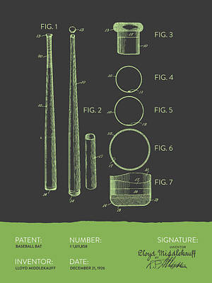 Baseball Royalty-Free and Rights-Managed Images -  Baseball Bat Patent from 1926 - Gray Green by Aged Pixel