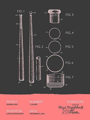 Sports Digital Art -  Baseball Bat Patent From 1926 - Gray Salmon by Aged Pixel