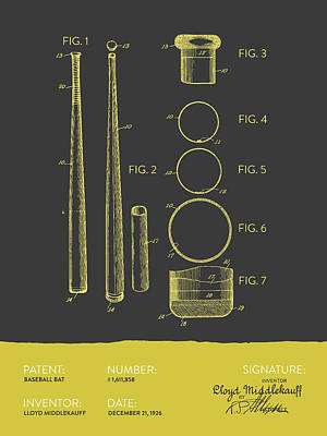 Sports Digital Art -  Baseball Bat Patent From 1926 - Gray Yellow by Aged Pixel