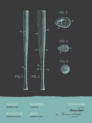Sports Royalty-Free and Rights-Managed Images -  Baseball Bat Patent from 1939 - Gray Blue by Aged Pixel