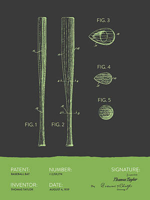 Baseball Royalty-Free and Rights-Managed Images -  Baseball Bat Patent from 1939 - Gray Green by Aged Pixel