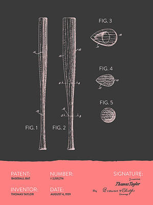 Softball Digital Art -  Baseball Bat Patent From 1939 - Gray Salmon by Aged Pixel