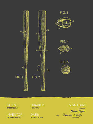 Baseball Royalty-Free and Rights-Managed Images -  Baseball Bat Patent from 1939 - Gray Yellow by Aged Pixel