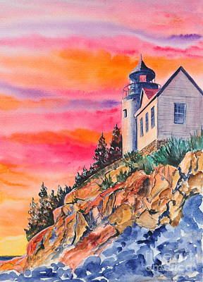 Maine Painting -  Bass Harbor Light Sunset by John W Walker