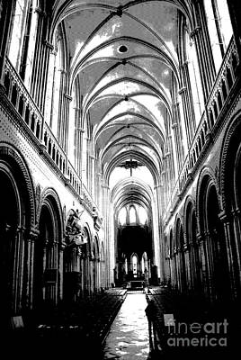 Photograph -  Bayeaux Cathedral Interior Bw by Jacqueline M Lewis