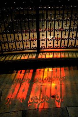 Photograph -  Bayeaux Cathedral Reflection - Gates by Jacqueline M Lewis