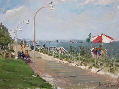 Norfolk Wall Art - Painting -  Beach Border Walk In Norfolk Va by Ylli Haruni