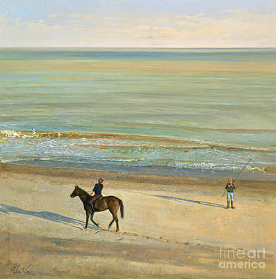 Horses In The Ocean Painting -  Beach Dialogue Dunwich by Timothy  Easton
