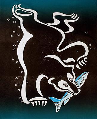 Bear Diving For The Fish Art Print by Vadim Vaskovsky