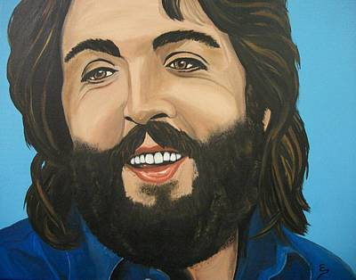 Painting -  Bearded  Paul Mccartney by Edward Pebworth