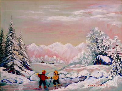 Kids Playing Hockey Painting -  Beautiful Winter Fairytale by Carole Spandau
