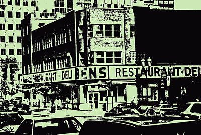 Ben's Resto Delicatessan Lunchtime Crowds And Traffic Jams Vintage Montreal Memorabilia Art Print by Carole Spandau