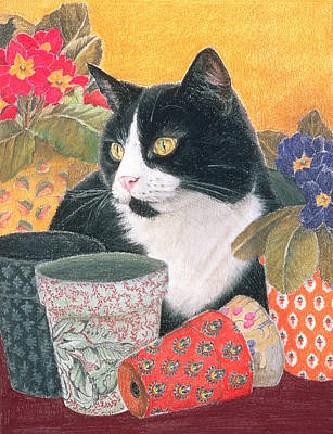 Pussycat Pastel -  Bhajii And Flowerpots by Anne Robinson