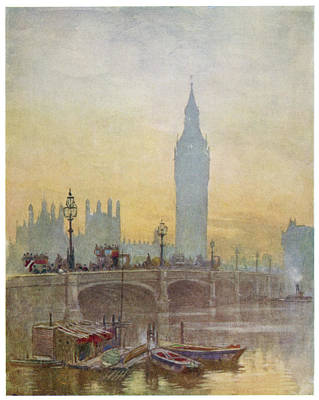 Big Ben Drawing -  Big Ben And Westminster Bridge by Mary Evans Picture Library