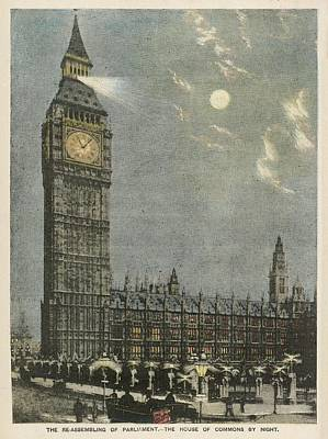 Big Ben Drawing -  Big Ben Lit Because Parliament by Mary Evans Picture Library