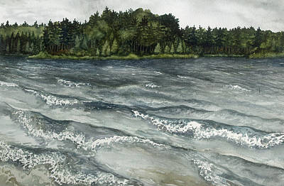 Painting -  Big Muskallunge Lake  by Helen Klebesadel