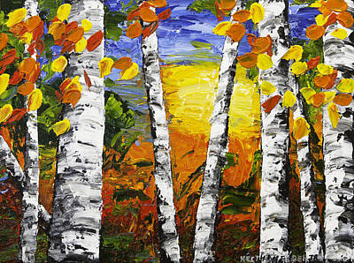 Pallete Knife Painting -  Birch Trees In Fall Pallete Knife Painting by Keith Webber Jr