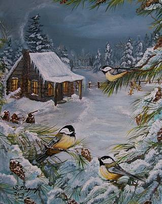 Black Capped   Chickadee's  Art Print by Sharon Duguay