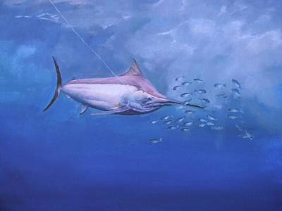 Art Print featuring the painting  Black Marlin by Noe Peralez