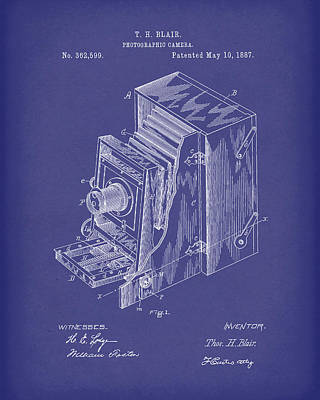 Drawing -  Blair Photographic Camera 1887 Patent Art Blue by Prior Art Design