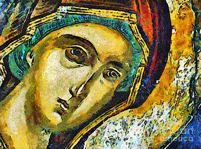 Painting -  Blessed Virgin Mary - Painting by Daliana Pacuraru