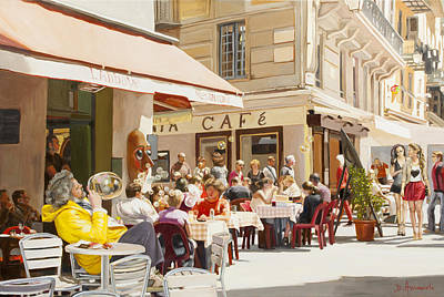 Painting -  Blowing Bubbles At The Cafe Terrace  by Dominique Amendola