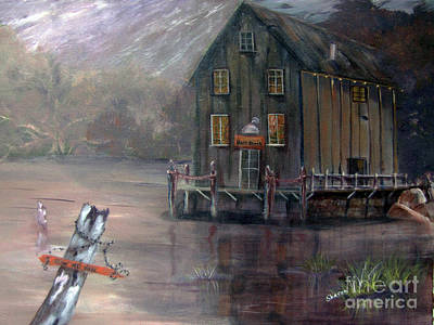 Fishing Shack Painting -  Blue Bayou by Sharon Burger
