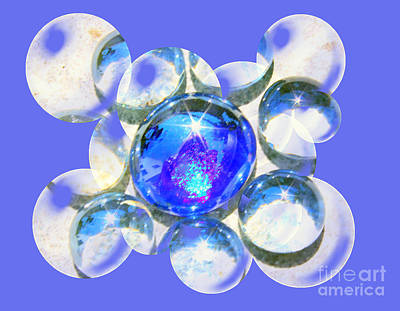 Blue Glass Bubble Abstract Art Print by Judy Palkimas