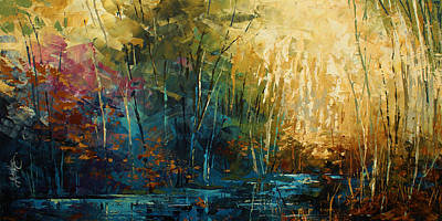 Michael Lang Painting - ' Blue Lagoon ' by Michael Lang