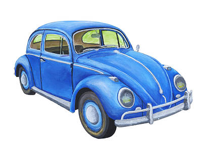 Punch Painting -  Blue Volkswagon Beetle Painting by Keith Webber Jr