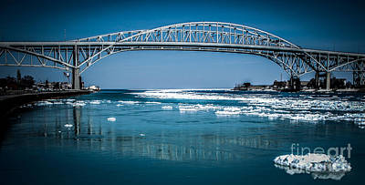Photograph -  Blue Water Bridges With Reflection And Ice Flow by Ronald Grogan