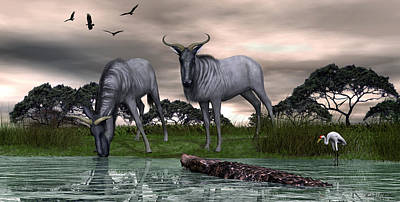 Digital Art -  Blue Wildebeest by Walter Colvin