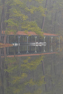 Boat Dock Reflection Original by Alan Lenk