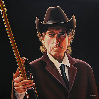 Folk Realism Painting -  Bob Dylan 2 by Paul Meijering